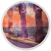 Topsail Island A Matter Of Time Round Beach Towel
