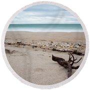 Topsail Island Driftwood Round Beach Towel by Shane Holsclaw
