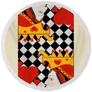 Round Beach Towel featuring the painting Topsy-turvy Queen by Carol Jacobs