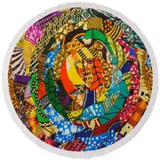 Round Beach Towel featuring the tapestry - textile Tor by Apanaki Temitayo M