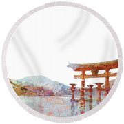 Torii Gate Colorsplash Round Beach Towel