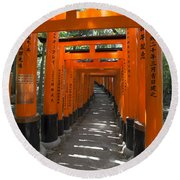 Torii Gates Of Inari Shrine Round Beach Towel