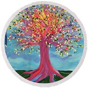 Round Beach Towel featuring the painting Tori's Tree By Jrr by First Star Art