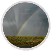 Round Beach Towel featuring the photograph Tornado And The Rainbow by Ed Sweeney