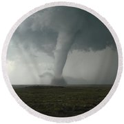 Tornado In The High Plains Round Beach Towel