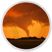 Tornado Sunset Round Beach Towel