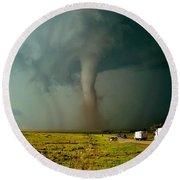 Tornado Truck Stop II Round Beach Towel by Ed Sweeney