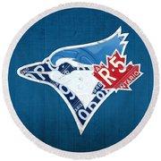 Toronto Blue Jays Baseball Team Vintage Logo Recycled Ontario License Plate Art Round Beach Towel