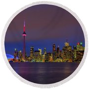 Toronto By Night... Round Beach Towel
