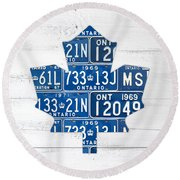 Toronto Maple Leafs Hockey Team Retro Logo Vintage Recycled Ontario Canada License Plate Art Round Beach Towel