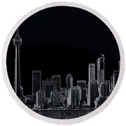 Toronto Skyline Black And White Abstract Round Beach Towel