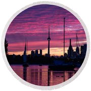 Toronto Skyline - The Boats Are Coming In Round Beach Towel