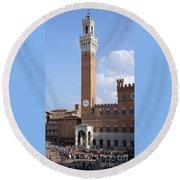 Round Beach Towel featuring the photograph Torre Del Mangia - Piazza Del Campo - Siena  by Phil Banks