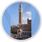 Torre Del Mangia - Piazza Del Campo - Siena  Round Beach Towel