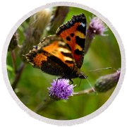 Tortoise Shell Butterfly Round Beach Towel