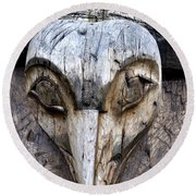 Totem Face Round Beach Towel