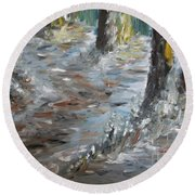 Round Beach Towel featuring the painting Touch Of Christmas by Teresa White