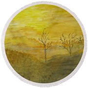 Touch Of Gold Round Beach Towel