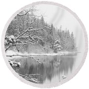 Touch Of Winter Round Beach Towel by Diane Bohna