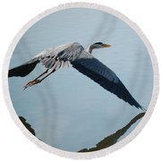Touch The Water With A Wing Round Beach Towel