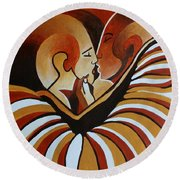 Round Beach Towel featuring the painting Touched By Africa I by Tracey Harrington-Simpson