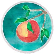 Round Beach Towel featuring the painting Touching The Water by Frank Bright