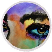 Round Beach Towel featuring the painting Tougher Than You Think by Michael Cross