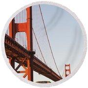 Tour Boats Cross Under Golden Gate Round Beach Towel
