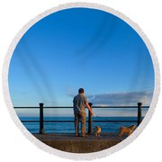 Tourist On The Promanade, Tramore Round Beach Towel
