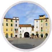 Tourists At A Town Square, Piazza Round Beach Towel