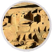 Tourists At Cliff Palace, Mesa Verde Round Beach Towel