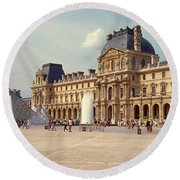 Tourists Near A Pyramid, Louvre Round Beach Towel by Panoramic Images