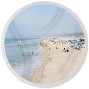 Tourists On The Beach, Santa Monica Round Beach Towel by Panoramic Images