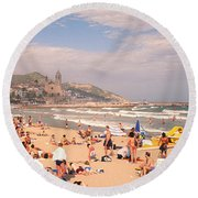 Tourists On The Beach, Sitges, Spain Round Beach Towel by Panoramic Images