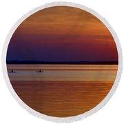 Tours End - Kayak Sunset Photo Round Beach Towel