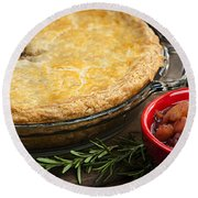 Tourtiere Meat Pie Round Beach Towel