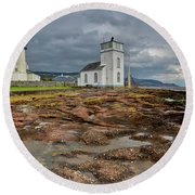 Toward Lighthouse  Round Beach Towel by Gary Eason