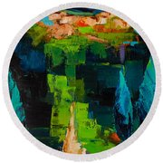 Round Beach Towel featuring the painting Toward The Tuscan Village by Elise Palmigiani