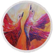 Round Beach Towel featuring the painting Towards Heaven by Sher Nasser