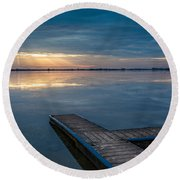 Towards The Light Round Beach Towel