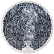 Towards The Lonely Path Of Winter Round Beach Towel