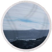 Tower 3 Jetty At Low Tide Round Beach Towel