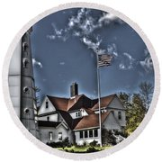 Round Beach Towel featuring the photograph Tower At North Point by Deborah Klubertanz