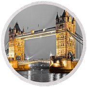 Tower Bridge - London - Uk Round Beach Towel by Luciano Mortula