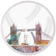 Tower Bridge Colorsplash Round Beach Towel by Aimee Stewart