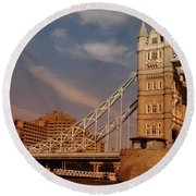Tower Bridge Sunset Round Beach Towel by Jonah  Anderson