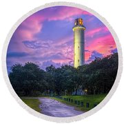 Tower In Sulfur Springs Round Beach Towel