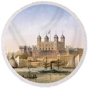 Tower Of London, 1862 Round Beach Towel by Achille-Louis Martinet