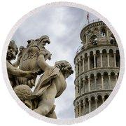 Tower Of Pisa Round Beach Towel