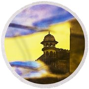 Tower Reflection Round Beach Towel by Prakash Ghai